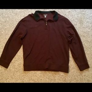 Garnet colored men's pullover with zippered collar